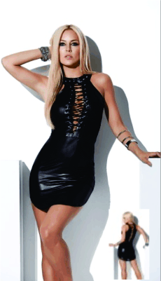 very sexy mapale mini dress and clubwear with a deep V front and lace up treatment  Little black dress dallas